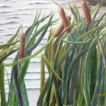 Original 2011 oil painting of cattails near a pond.