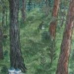 An original watercolor painting of a man picking blueberries in a summer woods. Two ice cream buckets are already full of berries.