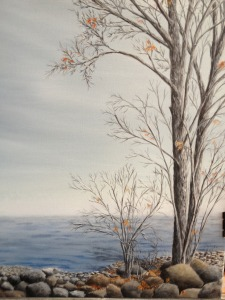 Original 2012 painting of nearly bare trees near the rocky shore of Mille Lacs Lake in the late autumn.