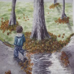Original 2008 watercolor painting of a little boy running through a puddle on a rainy fall day.