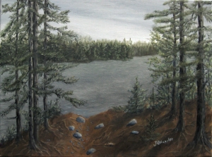 Original 2014 oil painting of the view from a BWCA campground of a small lake through the trees.