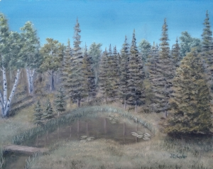 Original 2014 oil painting of the fir trees and a cedar tree around a pond There is a small footbridge over the pond's outlet.