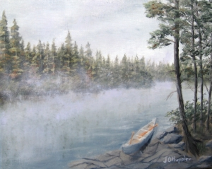 Original 2014 oil painting of morning mist rising off a a small lake in a wooded wilderness. An aluminum canoe with two paddles is pulled up along the rocky shore.