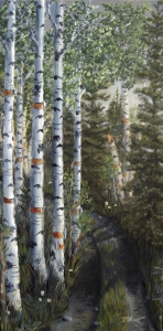 Original 2014 oil painting of the birch trees along a rural road/ trail through the north woods.