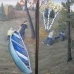 A set of two original 2014 oil paintings of a young man and a toddler pulling a canoe up a hill while two children are running and playing among autumn trees.