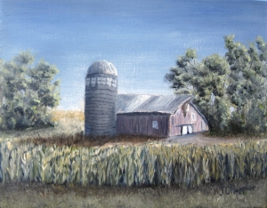 Original 2014 oil painting of a barn, a silo, and shelter belt trees behind a summer corn field.