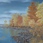Original 2014 oil painting of the rocky shore of Mille Lacs Lake and brilliant autumn trees.