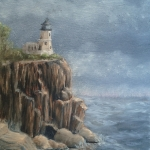 Original 2014 oil painting of Split Rock Light House on a cliff over Lake Superior.