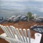 Original 2014 oil painting of a wooden Adirondack type chair on a lakeshore beach near an area for a small bon-fire.