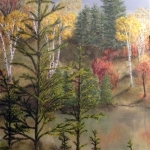 Original 2013 oil painting of a woods and pond in autumn.