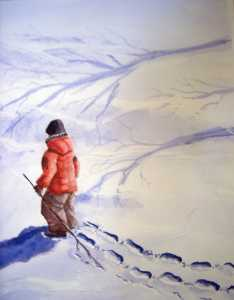 Original 2008 watercolor painting of a little boy holding a stick making tracks in the snow.