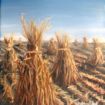 Original 2014 oil painting of corn shocks on a field of harvested corn.