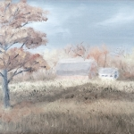Original 2014 oil painting of an oak tree in autumn with a farm in the background.
