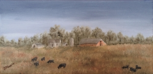 Original 2014 oil painting of a farm with cows grazing in a meadow.