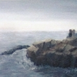 Original 2014 oil painting of sisters sitting on a large rock near Lake Superior on a foggy morning.