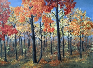 Original 2014 oil painting of vibrantly colored leaves on the trees in a woods.