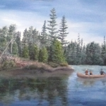 Original 2014 oil painting of an father and daughter paddling a canoe with another child riding near the front on a small wilderness lake in the BWCA .