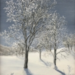 Original 2014 oil painting of a group of trees on a sunny winter day covered with hoarfrost.