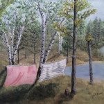 Original 2013 oil painting of beach towels drying on a clothesline between two trees near a lake.