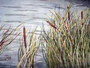 Original 2008 watercolor painting of cattails near the shore of a pond.