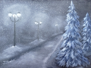 Original oil painting of a tree lined road with street lights shining on a snowy winter night.