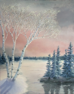 Original 2014 oil painting of a group of birch trees near a small lake on a winter evening at sunset.