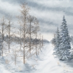 Original 2015 oil painting of bare tamarack trees and spruce trees on a snowy winter evening.