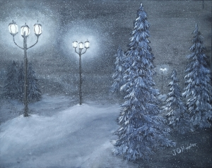 Original 2015 oil painting of a tree lined road with street lights shining on a snowy winter night.