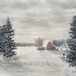 Original 2015 oil painting of a barn and farm house in a snowy winter scene.