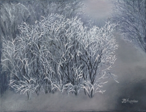 Original 2015 oil painting of an overcast winter afternoon in a woods with hoar frost on foreground brush.