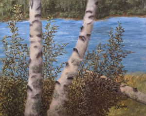 Original 2015 oil painting of three birch trees near a small wilderness lake, one three has broken and fallen.