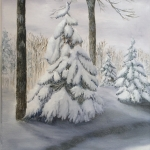 Original 2015 oil painting of Spruce trees with heavy wet snow on their branches.