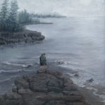 Original 2015 oil painting of a couple standing on a rocky point on Lake Superior on a misty morning.