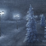 Original 2015 oil painting of a tree lined road with street lights glowing on a snowy winter night.