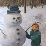 Original 2015 oil painting of a little girl finishing up a snowman. The snow around the snowman is rough from being played in and a snow angel can be seen near the yard's wooded edge.