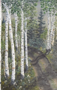 Original 2013 oil painting of birch trees along a rural Northern Minnesota road.