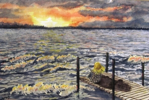 An original 2008 water color painting of a girl sitting on a dock watching the sunset across a lake on a windy, wavy day.