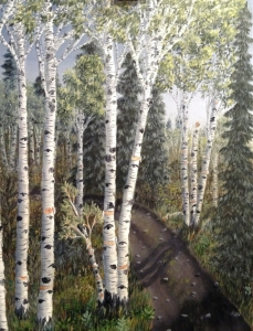 Original 2013 oil painting by J O Huppler of birch trees along a rural Northern Minnesota road.