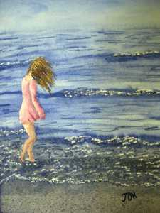 An original 2008 water color painting of a girl walking along the shore of a lake in the wind.