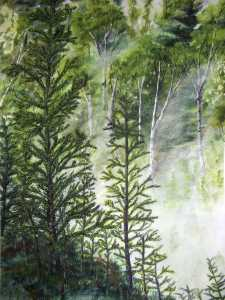 An original 2008 water color painting of morning fog raising from a valley in the woods.