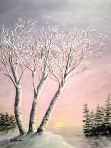 Original 2012 oil painting of birch trees near a lake in the winter.