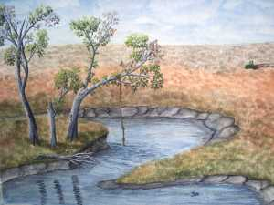 An original 2008 water color painting of a tree leaning over the Sioux River in South Dakota. A rope for swinging out and jumping into the river is hanging from the tree.