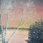 Original 2012 oil painting by J O Huppler of birch trees near a lake in the winter.