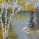 Original 2013 painting of birch trees near a woodland lake in fall.