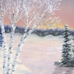 Original 2013 painting of birch trees near a woodland lake in winter.