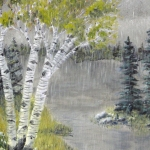 Original 2013 painting of birch trees near a woodland lake in spring.