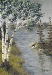 Original 2013 painting of birch trees near a woodland lake in summer.