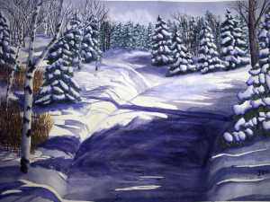 An original 2008 water color painting of a plowed road lined by snowy trees in the Minnesota Winter.