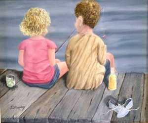 Original 2013 oil painting of children fishing from a dock.