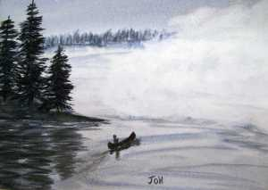 An original watercolor painting of someone paddling a canoe on a quiet woodland lake in the misty morning.
